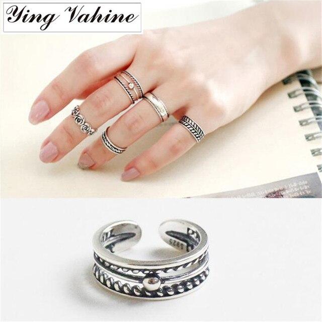 14d86a7a4882 Retro Celebrity 925 Plata de Ley 100% Simple tallado dedo del pie anillo  para mujer