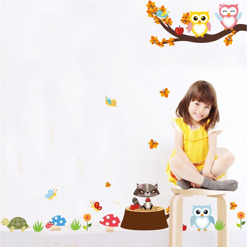 HTB1K7rOPpXXXXcbXXXXq6xXFXXXA - Jungle Forest Tree Animal Owl Monkey Bear Deer Wall Stickers For Kids Room