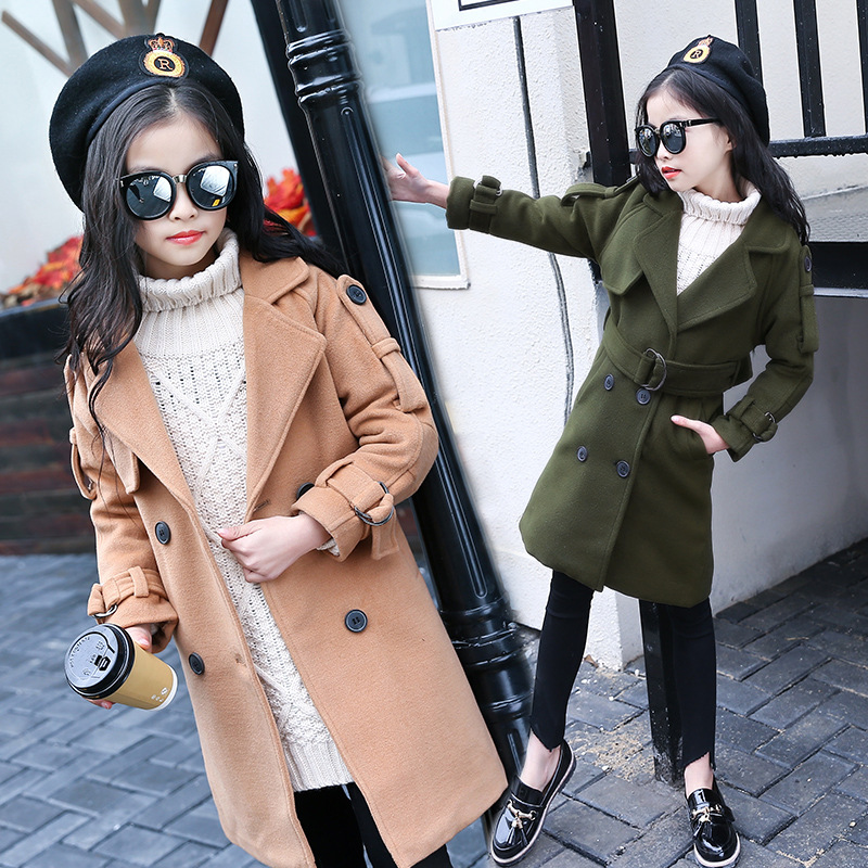 2018 Autumn and Winter New Girls Middle School Fashion Pure Color Long Coat2018 Autumn and Winter New Girls Middle School Fashion Pure Color Long Coat