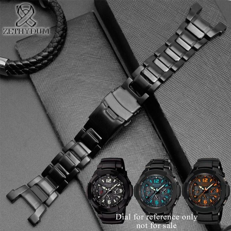 Bande en acier inoxydable pour casio g-shock G-1000/GW-2000/GW-3000B/GW-3500B bracelet de montre noir