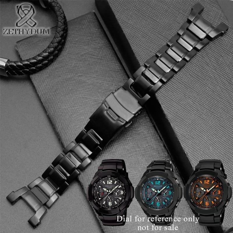 Stainless steel band for casio g-shock G-1000/GW-2000/GW-3000B/GW-3500B watchband black watch strapStainless steel band for casio g-shock G-1000/GW-2000/GW-3000B/GW-3500B watchband black watch strap