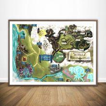 Легенда о Зельде hyrule карта настенная художественная краска