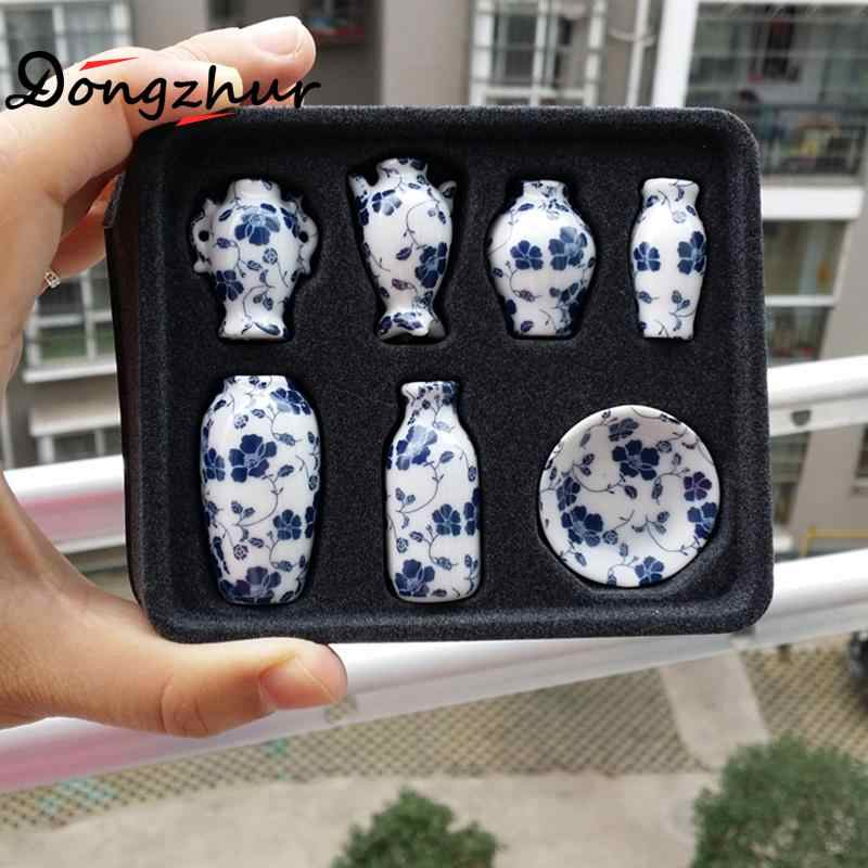 7pcs/set Miniature Dollhouse Mini Ceramic Vase Accessories Doll house Miniatures 1:12 Accessories Decorative Miniature Porcelain
