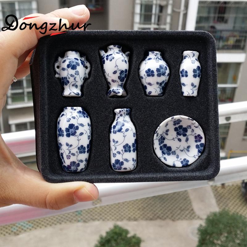 >7pcs/set Miniature Dollhouse Mini Ceramic Vase <font><b>Accessories</b></font> <font><b>Doll</b></font> <font><b>house</b></font> Miniatures 1:12 <font><b>Accessories</b></font> Decorative Miniature Porcelain