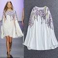 Europe Spring 2016 Fashion Runway New Slim Temperament Elegant And Fresh Flowers Embroidered Shawls False Two-piece Women Dress