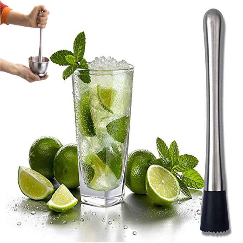 Bar Strainer Cocktail Muddler Stainless Steel Tool Mash Fruits Bartender Mojito
