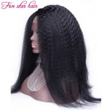 180 Density Kinky Straight Lace Front wig factory price Human hair wigs with baby hair Silk Top Full Lace Brazilian wigs
