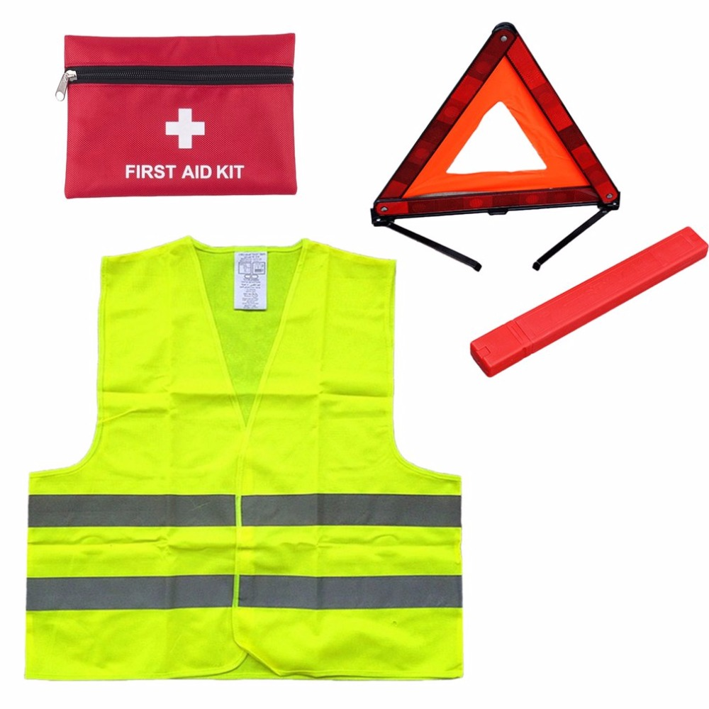 First Aid Kit+Warning Tripod+Safety Vest Car Safety For Roadside Emergencies Warning Triangle Sign Reflective Vest Jacket new reflective traffic warning sign car triangle foldable standing tripod emergency