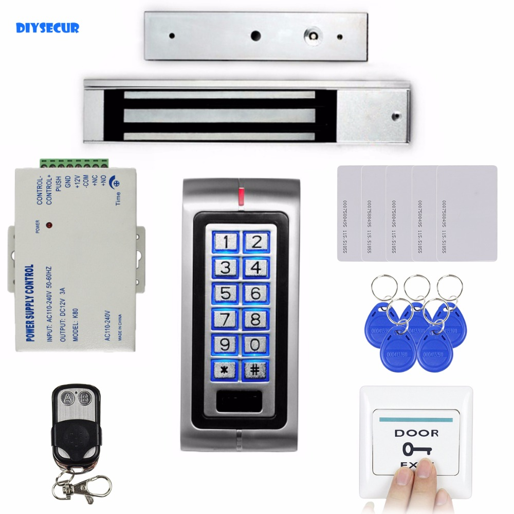 DIYSECUR RFID 125KHz ID Card Password Metal Keypad Access Control Security System Kit + Magnetic Door Lock + Remote Control diysecur 280kg magnetic lock 125khz rfid password keypad access control system security kit exit button k2