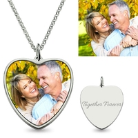 Sweey Dropshipping Engravable Nacklace Jewelry for Men Photo Pendant Engraved Heart Shape Personalized Gifts Father's Day