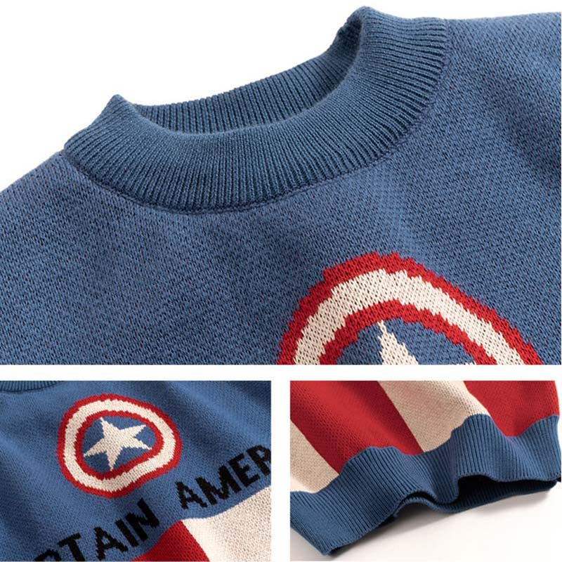 Kids Boys Cartoon Sweaters Casual Children Knit Autumn Warm Pullover Sweater For Boy Toddler Long Sleeve Wear Appliques Clothes