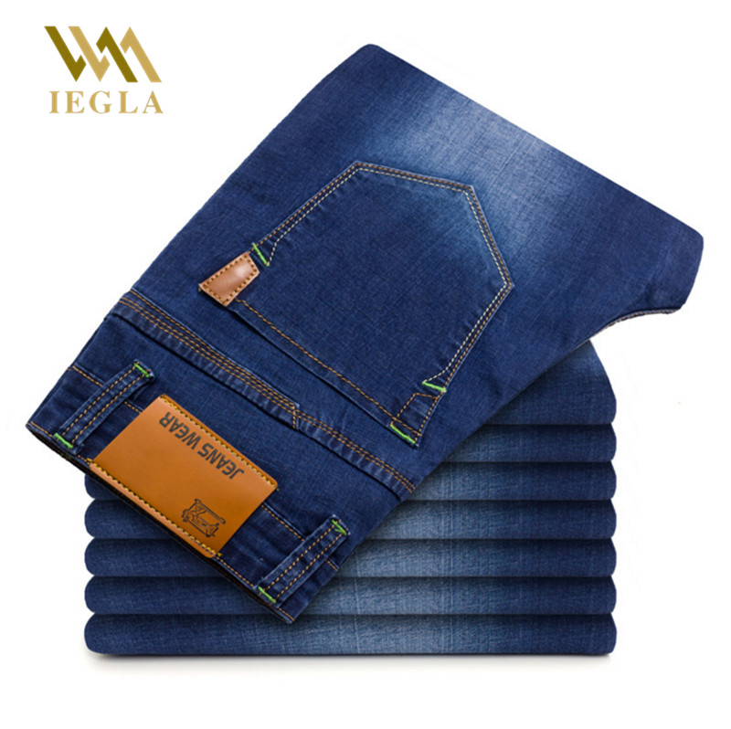 Jeans Men Spring And Autumn Ripped Distressed Straight Painted Stretch Jeans Dark Blue Male Joggers Trousers Jean homme Pants