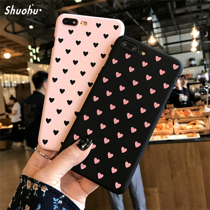 SHUOHU Black&Pink Love Heart Phone Cases for Iphone 7 X 8 Plus Case Cute Girl Protective Cover for Iphone 6 6S Plus Case Coque