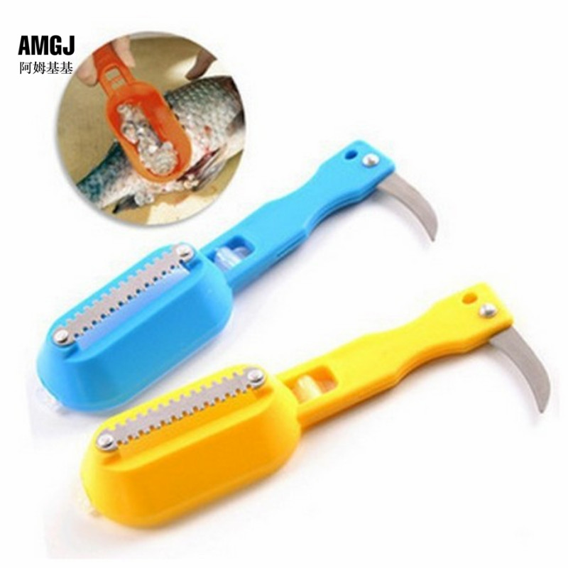 1 pcs fish scraper plastic fish scaler cleaning fillet for Fish scaling knife