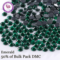 DMC Hotfix Rhinestones SS6 SS30 Emerald Color Crystal For Garment DIY Dresses Decoration Wholesale Rhinestone Stones