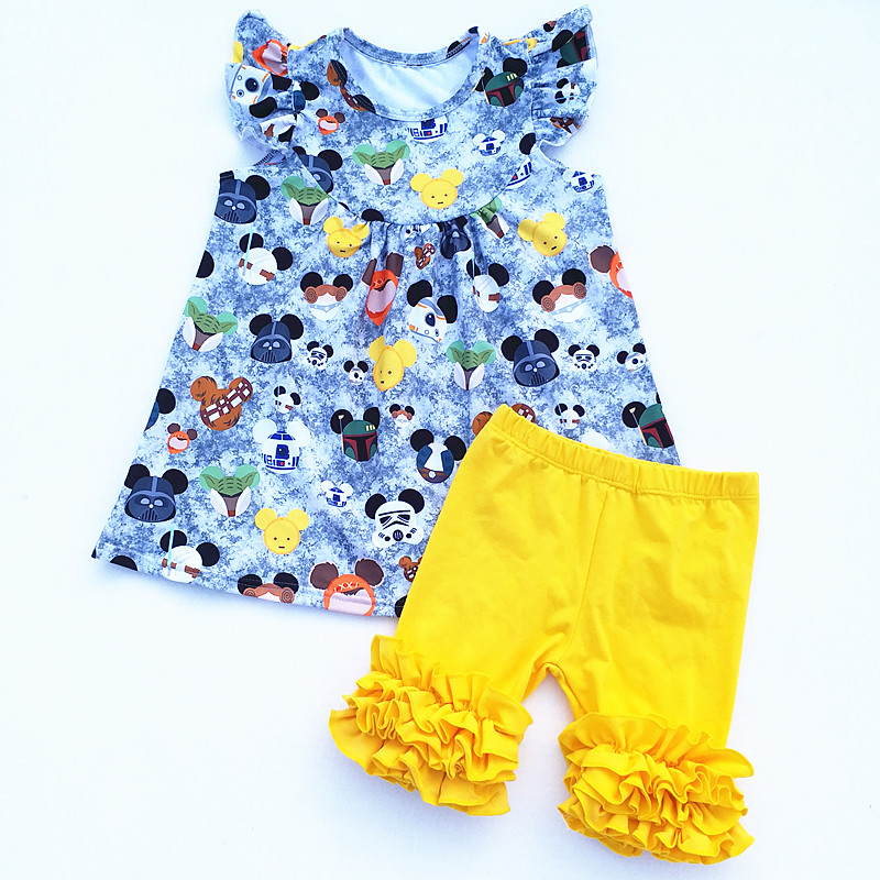 HTB1K7t2gr5YBuNjSspoq6zeNFXag - Baby Girl Cartoon Mickey Minie Head Children Clothing Set Summer Child Kids Milk Silk Top Matching with Cotton Ruffle Shorts 2pc