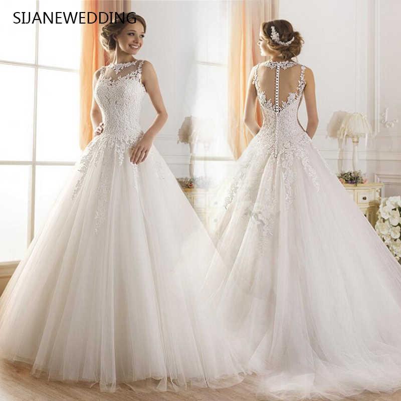 0a8f2786821 SIJANE кружево принцессы свадебное платье белого цвета и слоновой кости  бальное платье без рукавов Vestido de