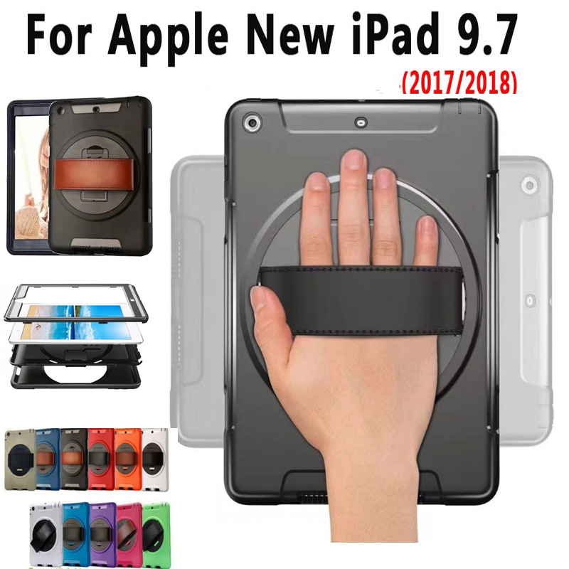 Armor Case for New Apple iPad 9.7 2018 2017 Cover Tablet Hand Hold 360 Degree Rotating Silicone Shockproof Case for iPad 2018 alabasta for apple ipad mini 1 2 3 case hand strap 360 degree rotation armor 7 9 inch kickstand pc silicone shockproof pen