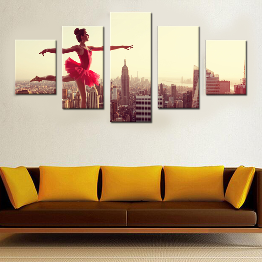 Skyscraper Ballerina Canvas Set Paintings for Living Room Modern Girl Unframed Pictures for Living Room Art Wall Drop Shipping ...