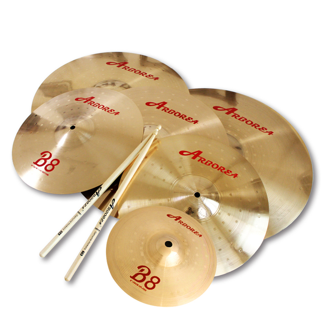 "Arborea B8 series 4 Cymbals set: 14"" hihat+16""crash+18""crash ride+20""ride+8""splash+cymbal bag"