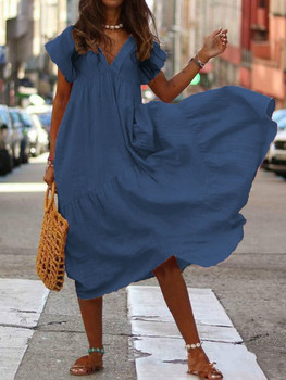 WEPBEL Women Dress V Neck Irregular Solid Color Short Sleeve Summer Casual Beach Loose Plus Size Long Ladies Dresses 4