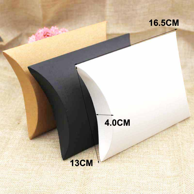 ZerongE Jewelry 50pcs Big Pillow Box Gift Box Black/brown/white Color Gift Display Box For Gift/candy Favors/products
