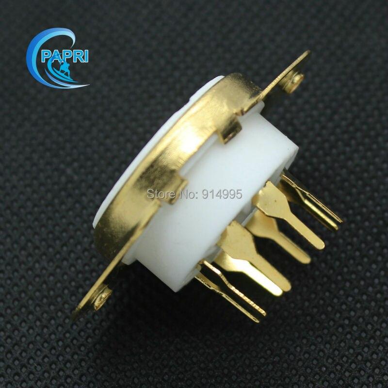 PAPRI 10 PCS K8A 8pin Keramik Chassis Montieren Verstärker Vergoldeten Rohr Steckdosen Für KT88 6L6 6CA7 KT66 EL34 6550 6V6 6SN7