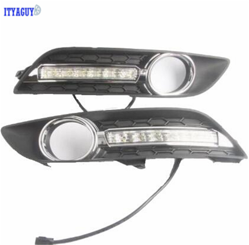 Car styling For SYLPHY 2012 -2016 With turn signal Daytime Running lights with Fog Lamp hole cover headlamp 2 pcs car styling daytime running lights with fog lamp for n issan new t eana or a ltima 2013 2015 turn signal