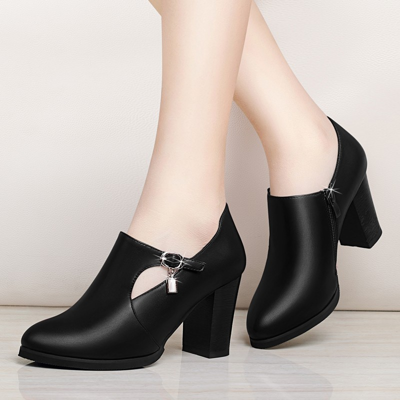 Square Heel Women Boots High-heeled Cow Leather Ankle Boots For Lady Pointed Toe Side Zipper Female Boots 2018 Autumn YG-A0067Square Heel Women Boots High-heeled Cow Leather Ankle Boots For Lady Pointed Toe Side Zipper Female Boots 2018 Autumn YG-A0067