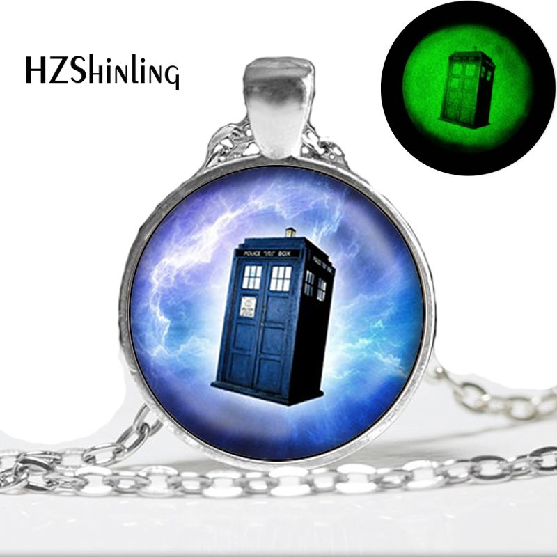 Glow in the dark Necklace Tardis in Space Doctor Who Necklace Inspired Pendant Necklace Glass Art Print glowing jewelry