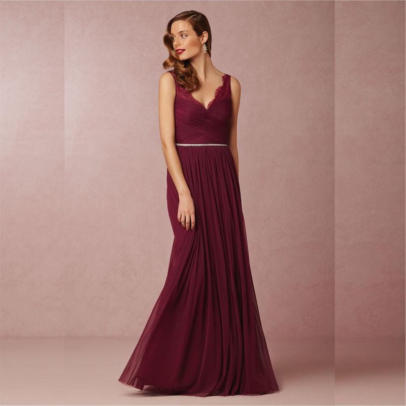 9 2016 New Design Elegant V Neck Beaded Sexy Wine Red Bridesmaid Dress Floor Length Custom Made Maid of Honor Dresses -