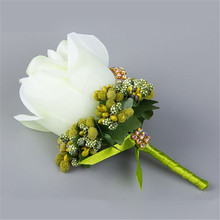 2017 New 3 pcs/ lot wedding decoration Hand Made Corsage For Groom Groomsman Rose Flower Boutonnieres pin brooch party culb prom
