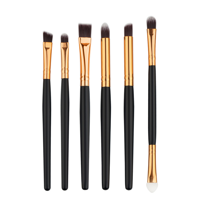 6 PCS Makeup Cosmetics Brushes Eye Shadows Eyeliner Brush Set Kit Professional Black Glod Makeup Brushes For Lady Gift HB88