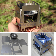 Outdoor Stainless Steel Camping Cooking Folding Wood Stove Pocket Alcohol Stove W15