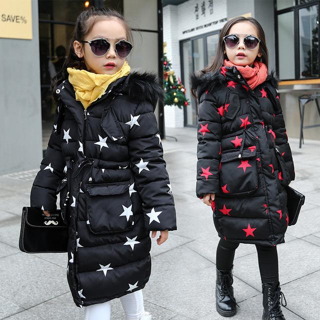 Ultral Longo Para Baixo Casaco de Inverno da Menina moda Bebê Padrão de Estrela Kid Fur Parka Com Capuz Cintura Engrossar Crianças Quentes Outwear
