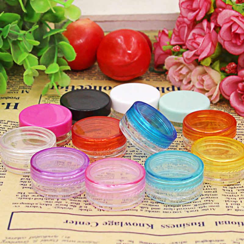 10 Pcs/set Plastik Kotak Kosmetik Kosong Jar Nail Art Kosmetik Wadah Penyimpanan Kawat Bulat Botol 5G Makeup Transparan PAK55