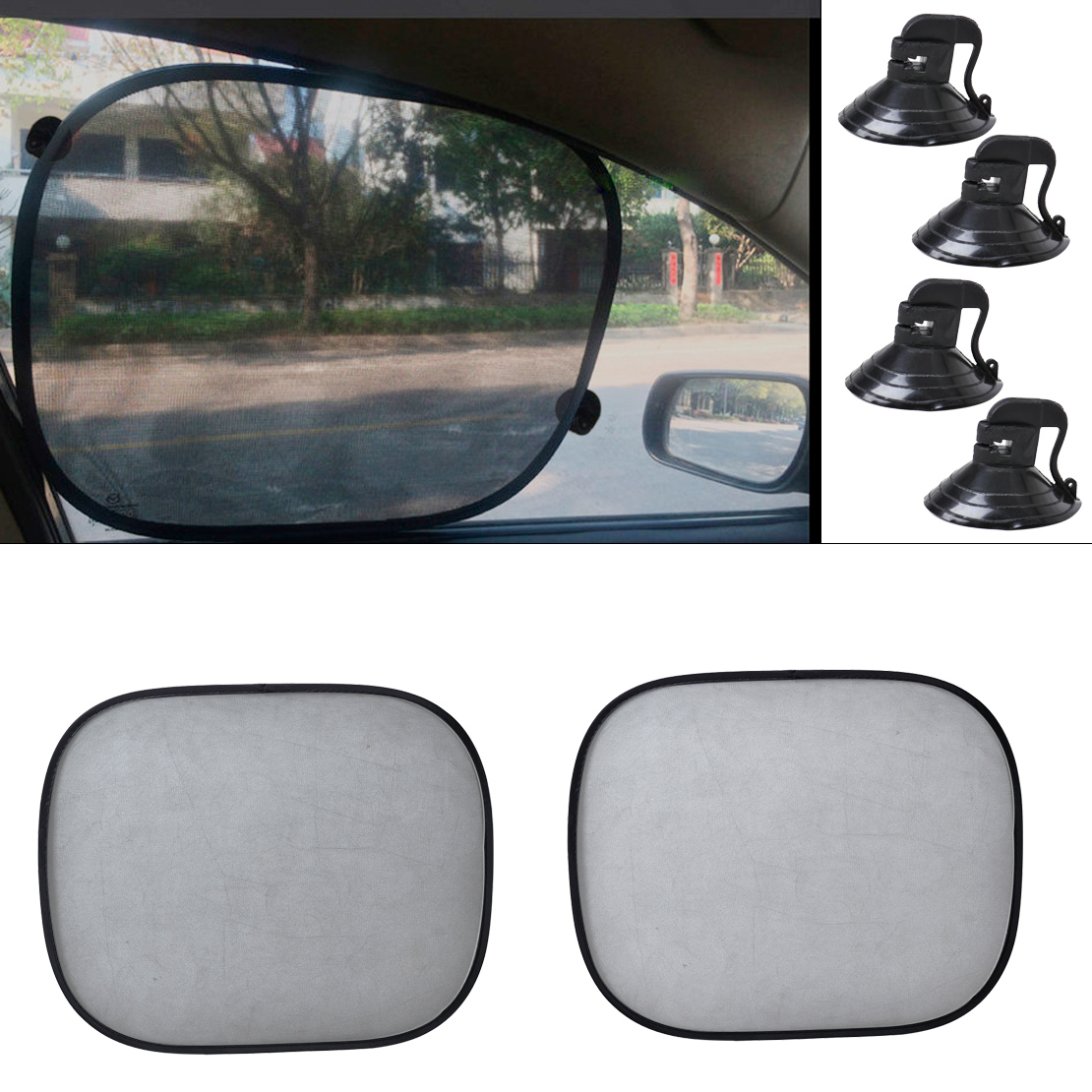 CITALL 2pcs Foldable Car Side Window Sun Shade Screen Mesh-pattern Visor Shield Cover for Audi A4 A6 BMW E90 Kia Rio Mazda 3 6 image