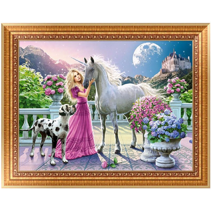 DIY 5D Diamond Painting Beauty Horse dog Gift Embroidery Painting Cross Stitch Craft Home Decor Kit 40*30cm
