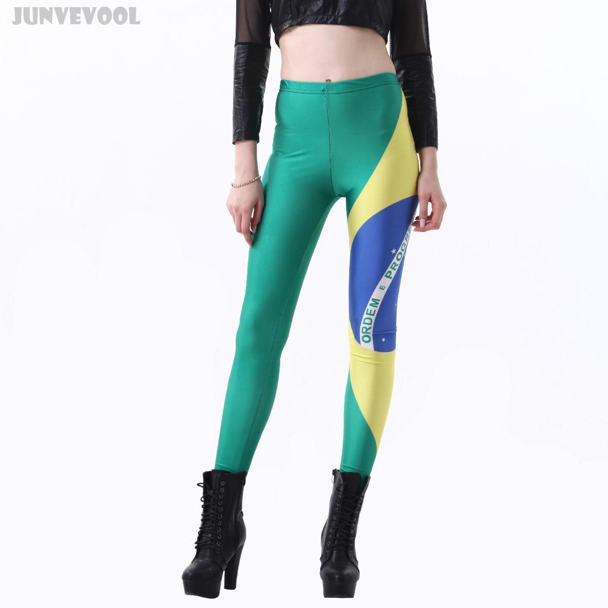 Brazilian Flag Leggings Harajuku 3D Printed Leggings Women Sexy Slim Leg Fitness Slim Sportswear Hot Ankle Length Tattoo Pants