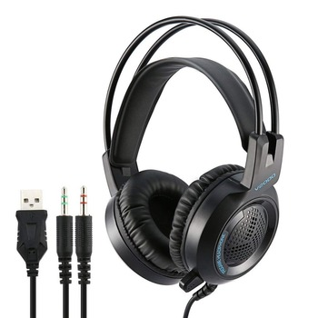 Gamer Headphone Headset 3.5mm Jack Bass Stereo Sound LED Light Gaming Headset With Mic for PS PC Laptop Smartphone EarphoneV2000