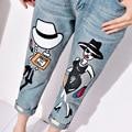 De la mujer 2015 otoño longitud del tobillo del agujero suelta más el tamaño de los pantalones vaqueros de impresión pantalones vaqueros de las mujeres