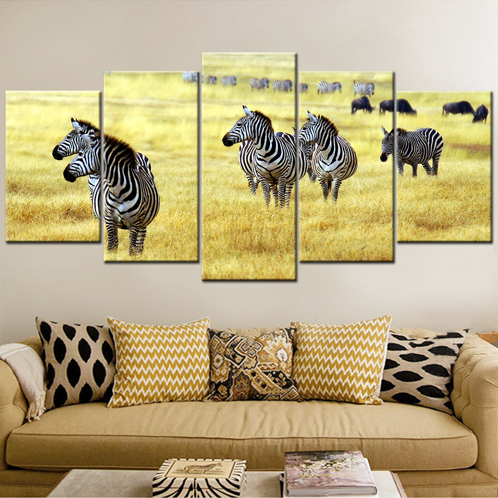 Framework Canvas Painting Oil Painting horse and zebra Modern Wall ...