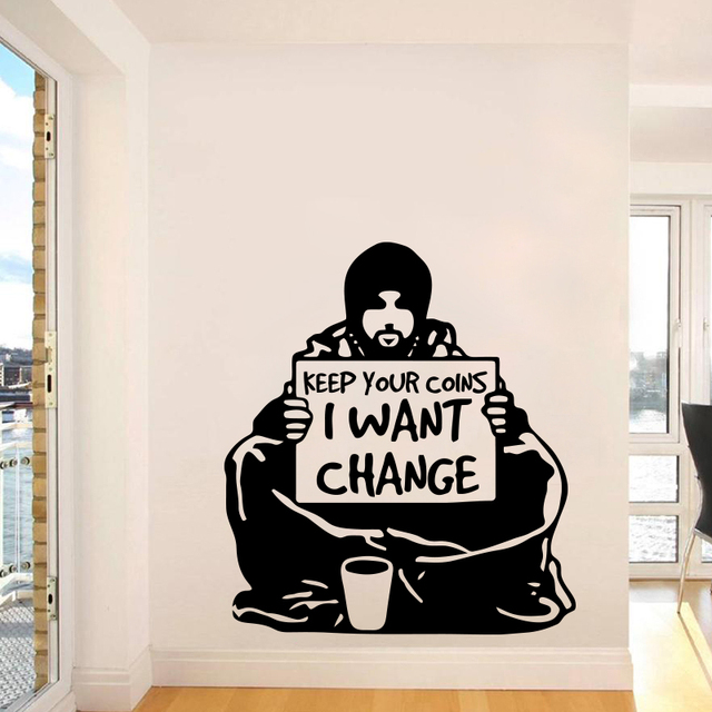 Banksy Wall Sticker Home Decor Keep Your Coins I Want Change Removable Vinyl Decal Decoration Mural