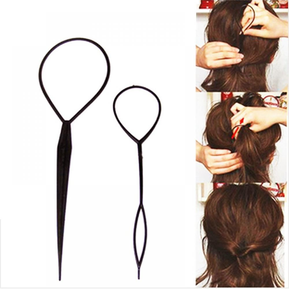 2pc Plastic Hair Loop Styling Tools Generic New Magic Topsy Tail Hair Braid Ponytail Styling Clip Bun Maker For Girls Braider image