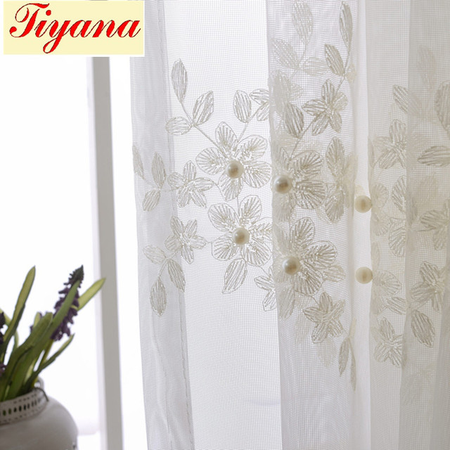 Solid White Tulle Window Curtain For Bedroom Curtain For Living Room Pearl Lace  Sheer Kitchen Curtains