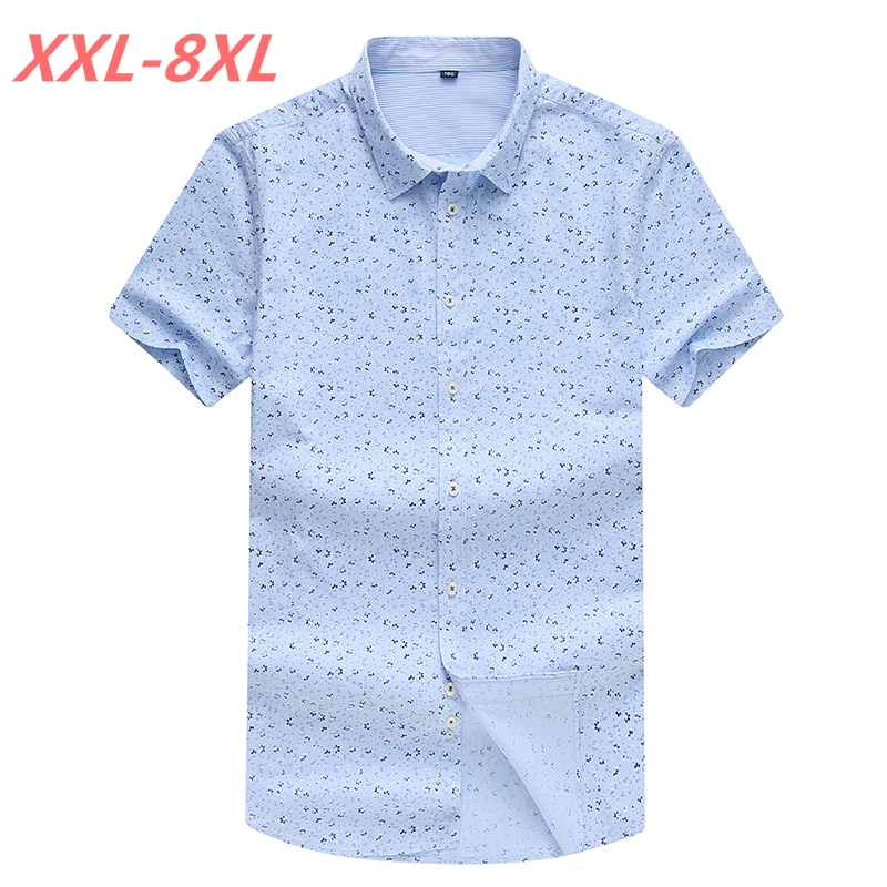 100% cotton Big And Tall Summer big print casual short sleeve shirt business shirt plus size fertilizer code 8XL 7XL Lapel