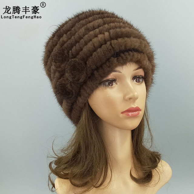 38f52664f34 Striped Knitting cap Mink fur Knitted Hats female beanies natural fur  Russian Ushanka Hats elastic 2018