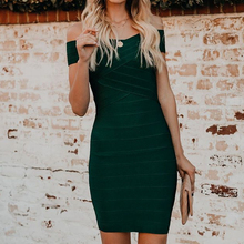 Sexy Sheath Mini Party Night Dresses Woman Elegant Off Shoulder Dress Vestidos Vintage Green Bandage Bodycon Dress Women Clothes