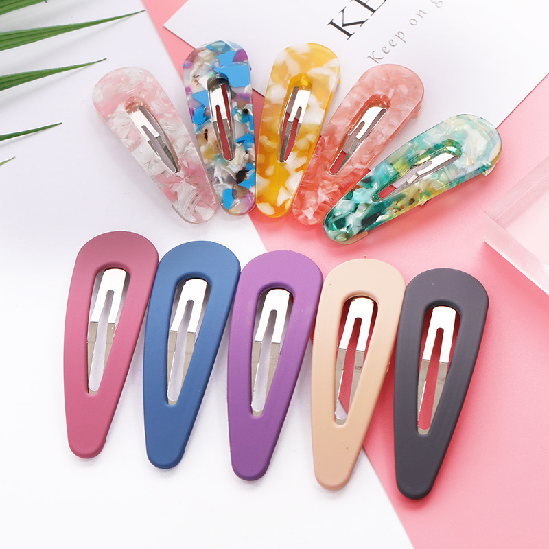 2018 New 1PC Women Fashion Acetate Acrylic Alloy Hairpins Cute Scrub Solid Barrettes Headbands Girls Headwear Hair Accessories