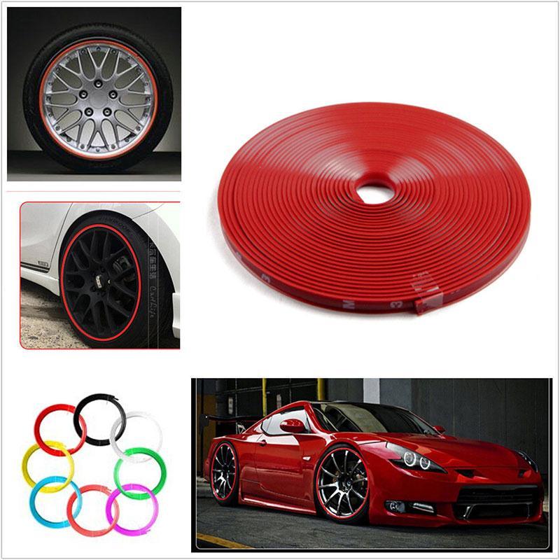 Vehemo 8M Car Wheel Hub Rim Edge Protector Tire Rubber Guard Sticker Line Strip Red недорого
